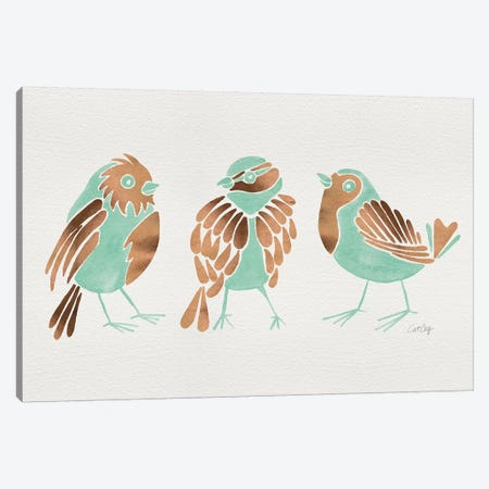 Mint Finches Canvas Print #CCE395} by Cat Coquillette Canvas Wall Art