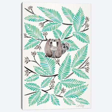 Mint Sloth Canvas Print #CCE398} by Cat Coquillette Art Print