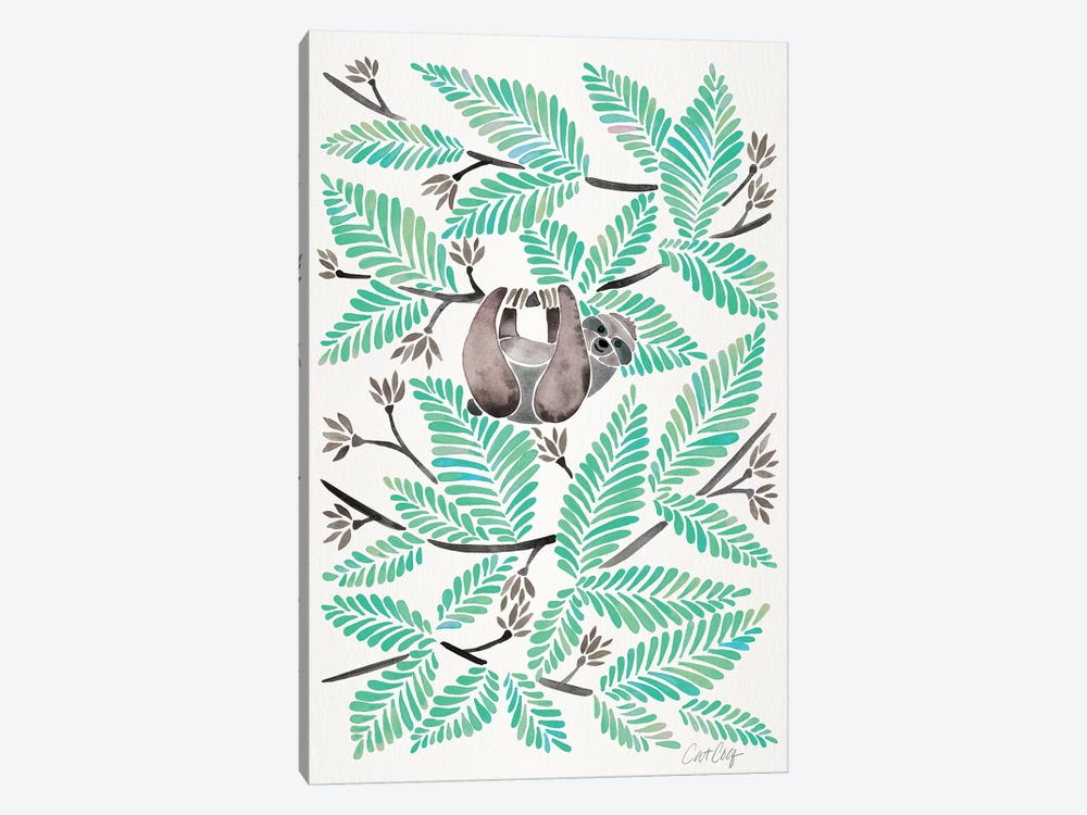 Mint Sloth by Cat Coquillette 1-piece Canvas Art Print