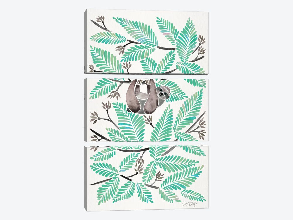 Mint Sloth by Cat Coquillette 3-piece Canvas Print