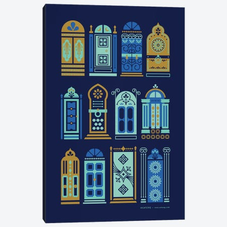 Navy Doors Canvas Print #CCE401} by Cat Coquillette Art Print