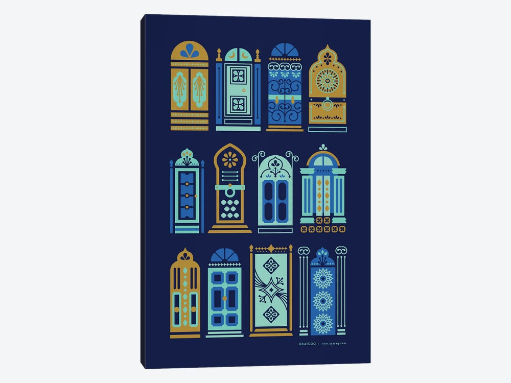 Navy Doors by Cat Coquillette 1-piece Canvas Wall Art