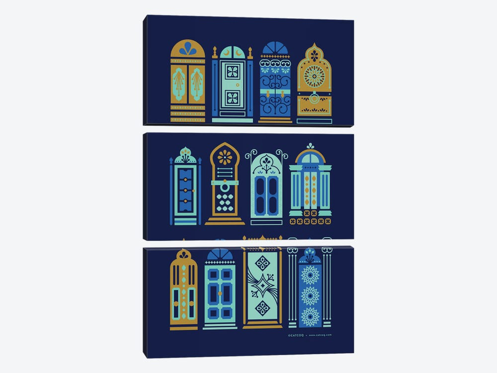 Navy Doors by Cat Coquillette 3-piece Canvas Art