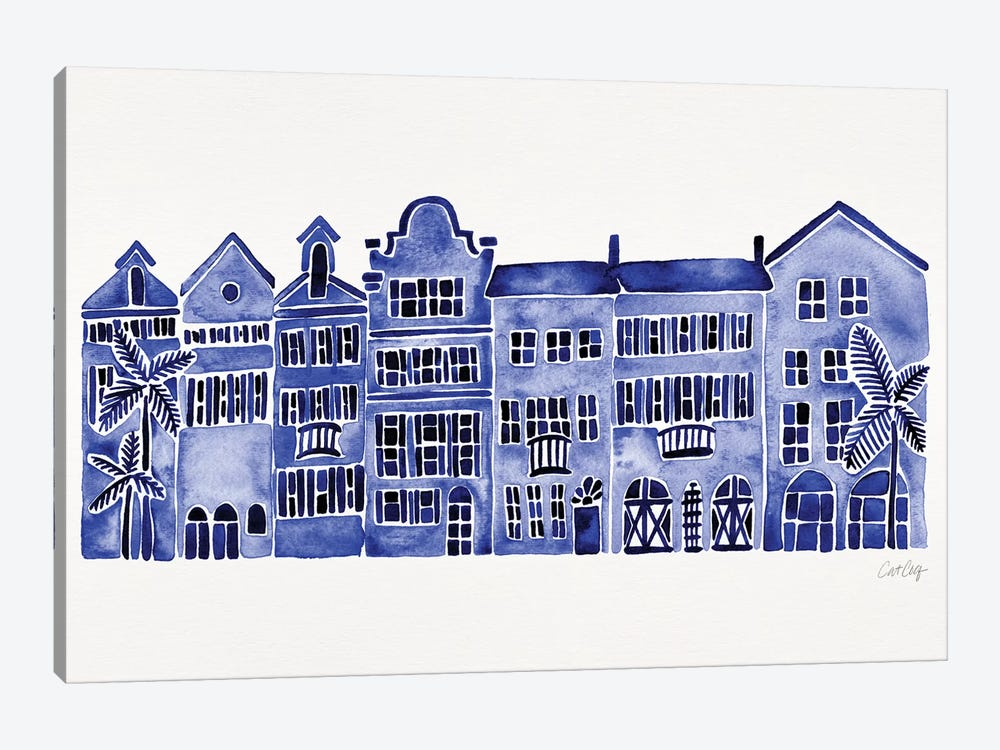 Navy Rainbow Row by Cat Coquillette 1-piece Canvas Art
