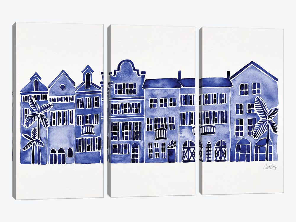 Navy Rainbow Row by Cat Coquillette 3-piece Canvas Artwork