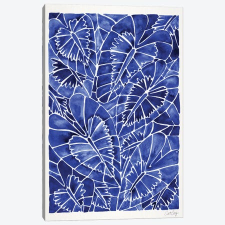 Navy Schismatoglottis Calyptrata 3-Piece Canvas #CCE404} by Cat Coquillette Canvas Art