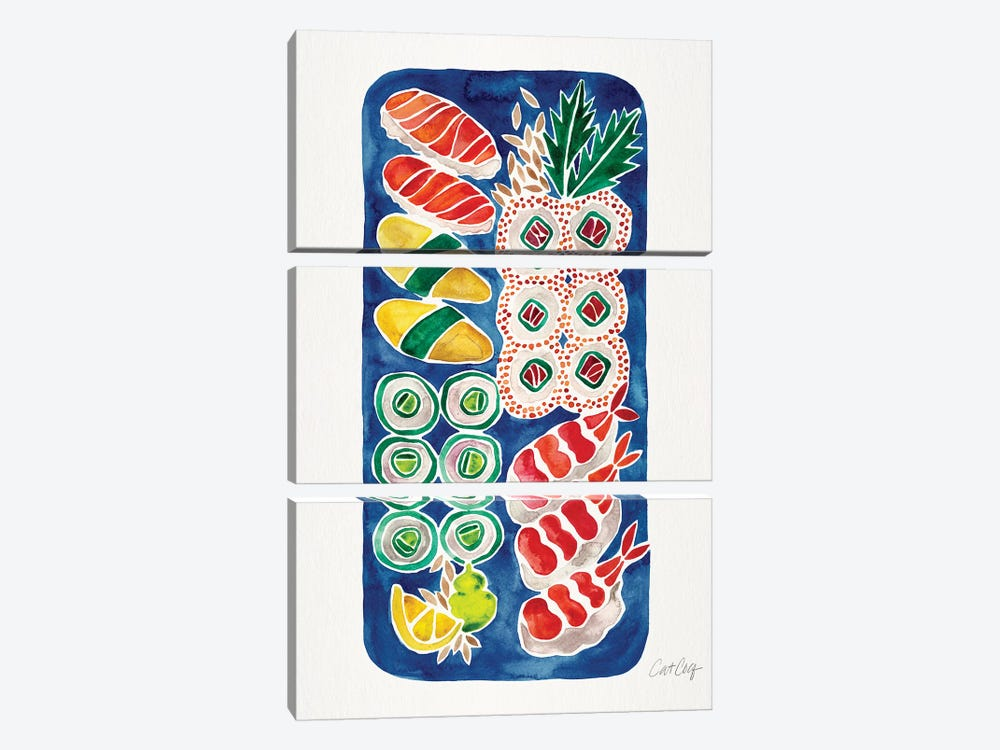 Navy Sushi by Cat Coquillette 3-piece Canvas Art