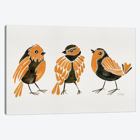 Orange Finches Canvas Print #CCE407} by Cat Coquillette Canvas Artwork