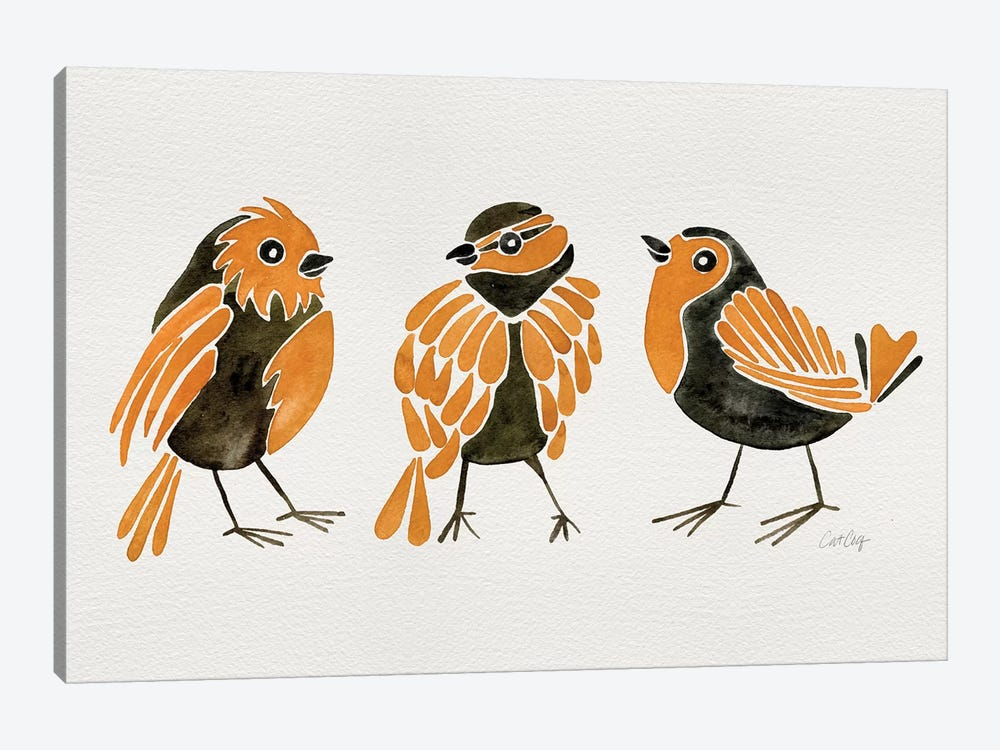 Orange Finches by Cat Coquillette 1-piece Canvas Artwork