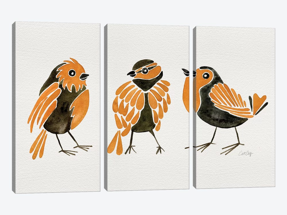 Orange Finches by Cat Coquillette 3-piece Canvas Art