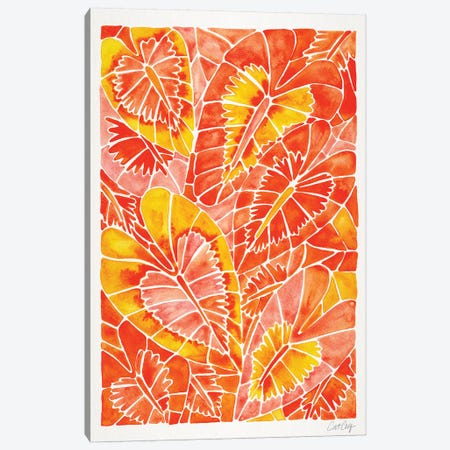 Orange Schismatoglottis Calyptrata 3-Piece Canvas #CCE408} by Cat Coquillette Canvas Print