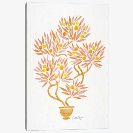 Peach Bonsai Orange Canvas Print #CCE410} by Cat Coquillette Canvas Artwork