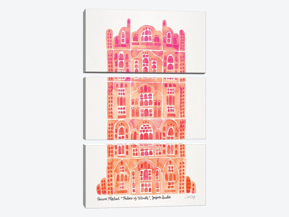 Peach Hawa Mahal by Cat Coquillette 3-piece Canvas Art