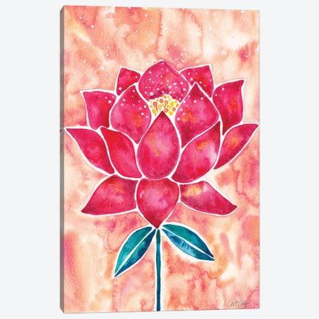 Peach Magenta Background Lotus Blossom Canvas Print #CCE413} by Cat Coquillette Canvas Wall Art