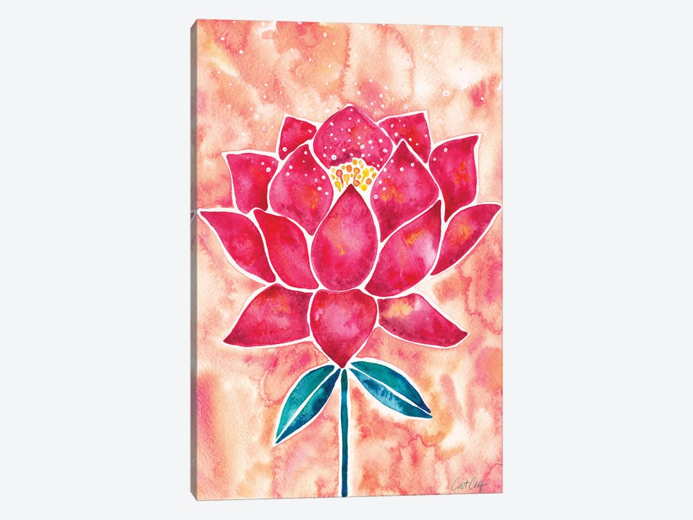 Peach Magenta Background Lotus Blossom by Cat Coquillette 1-piece Canvas Print