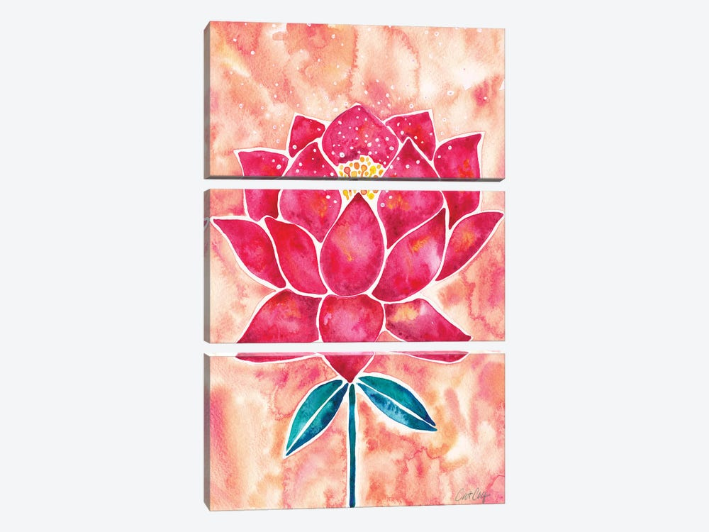 Peach Magenta Background Lotus Blossom by Cat Coquillette 3-piece Art Print