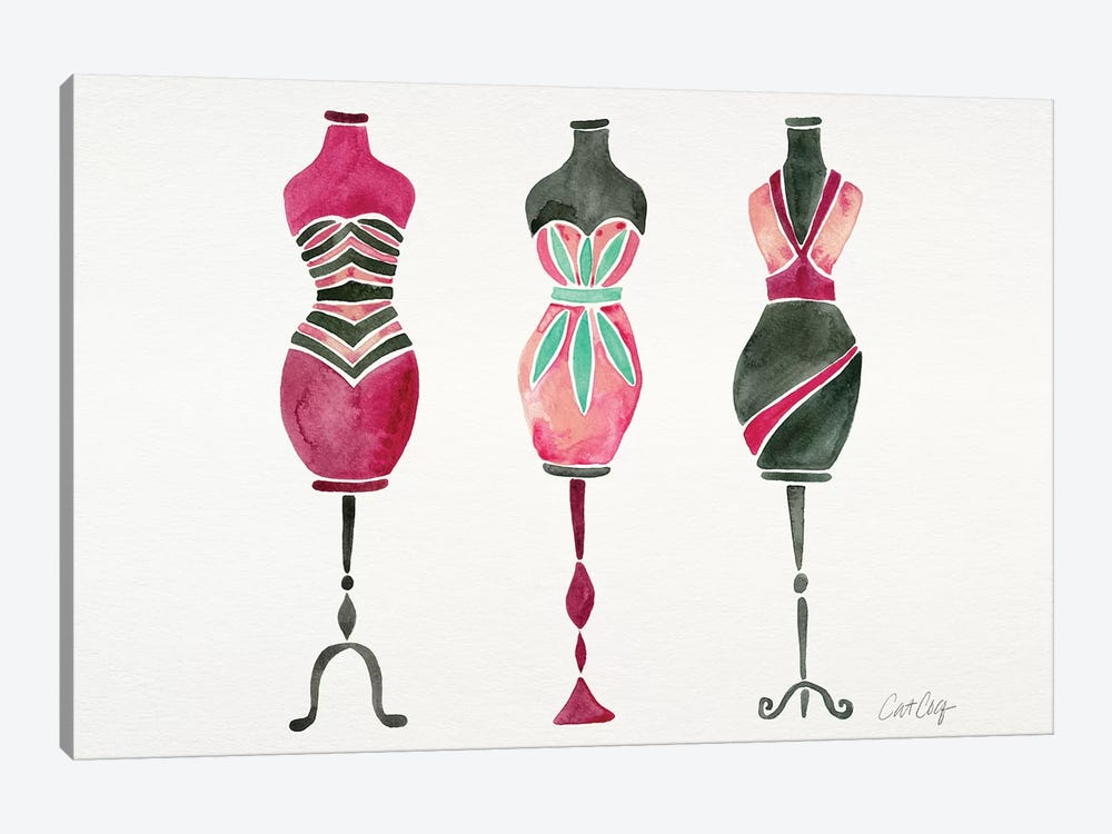 Pink 3 Dresses by Cat Coquillette 1-piece Canvas Print