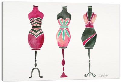 Pink 3 Dresses Canvas Art Print