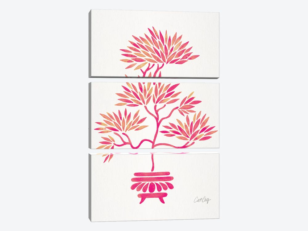 Pink Bonsai by Cat Coquillette 3-piece Canvas Artwork