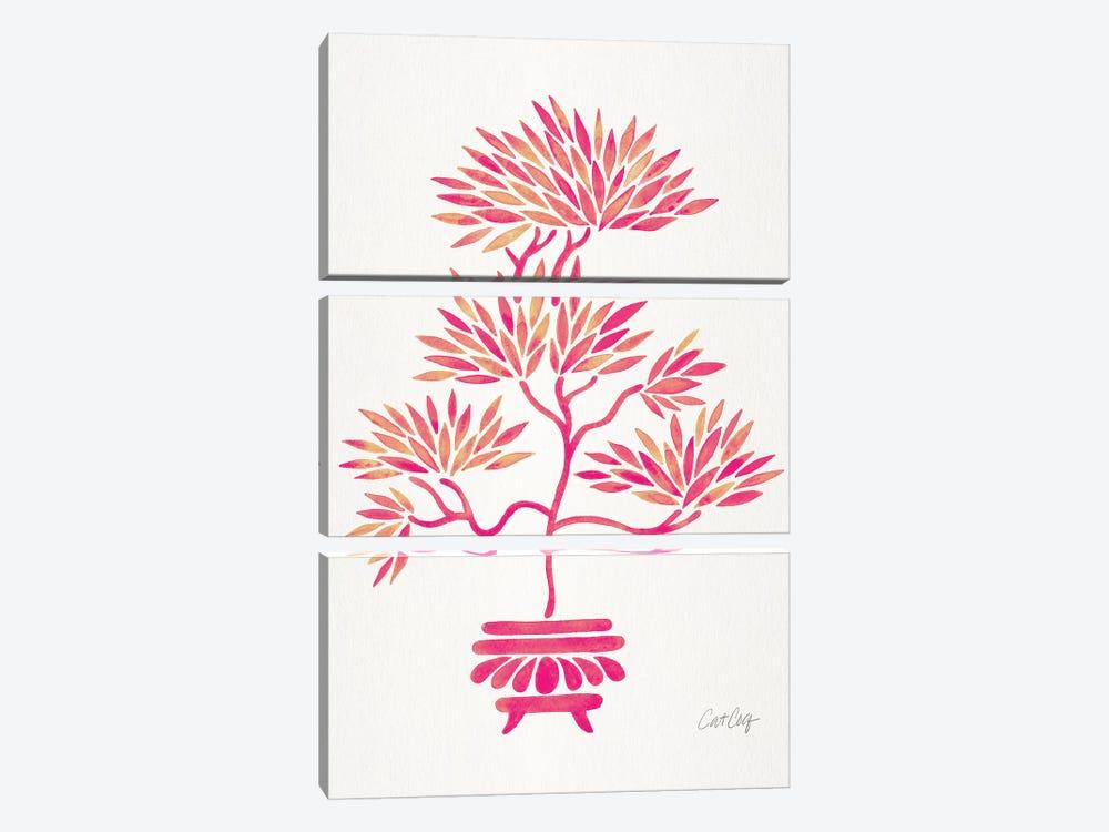 Pink Bonsai by Cat Coquillette 3-piece Canvas Artwork