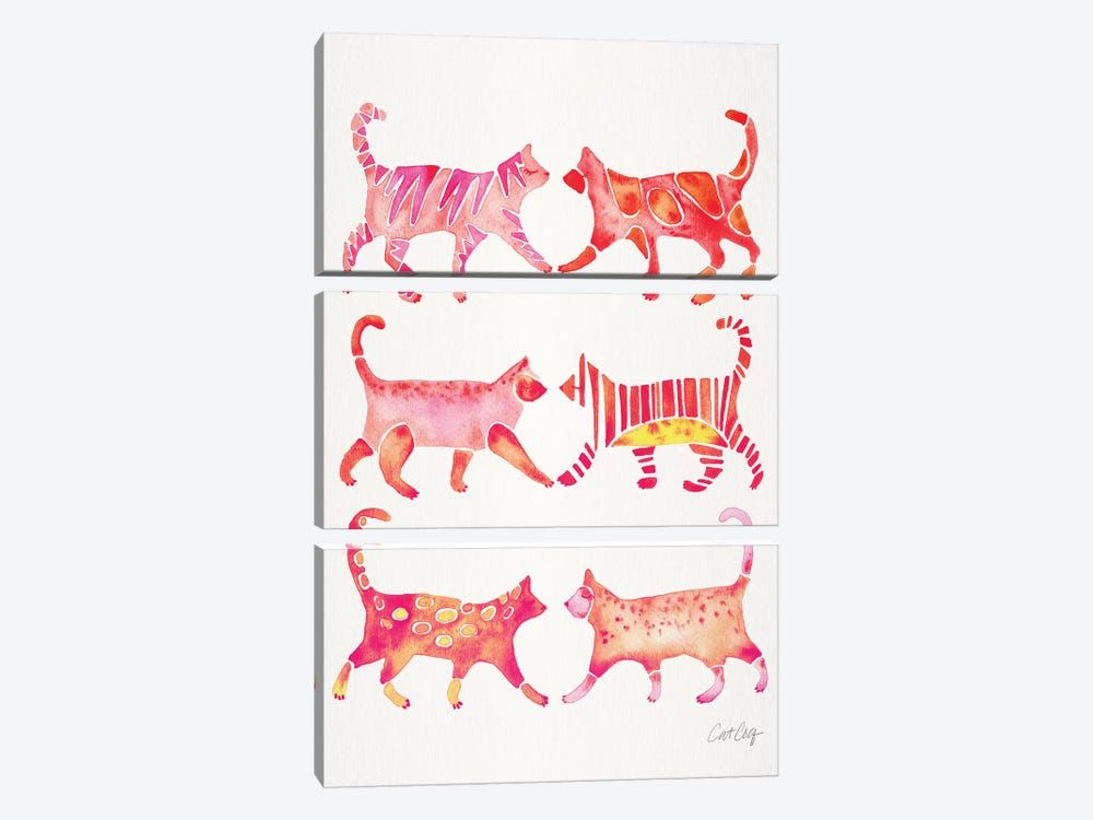 Pink Cat Collection by Cat Coquillette 3-piece Canvas Print