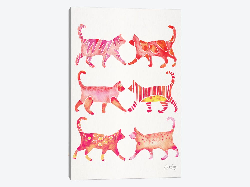 Pink Cat Collection by Cat Coquillette 1-piece Canvas Art Print
