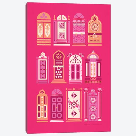Pink Doors Canvas Print #CCE418} by Cat Coquillette Canvas Wall Art