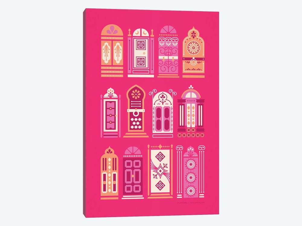 Pink Doors by Cat Coquillette 1-piece Canvas Wall Art