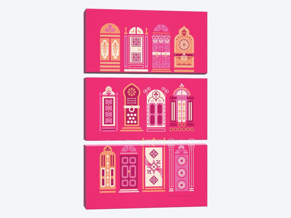 Pink Doors by Cat Coquillette 3-piece Canvas Wall Art