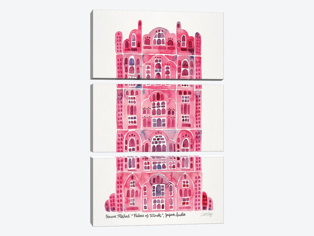 Pink Hawa Mahal by Cat Coquillette 3-piece Canvas Print