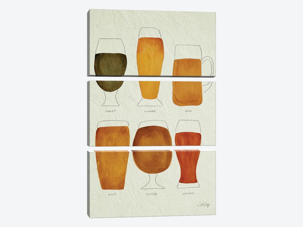 Beer Artprint by Cat Coquillette 3-piece Canvas Wall Art