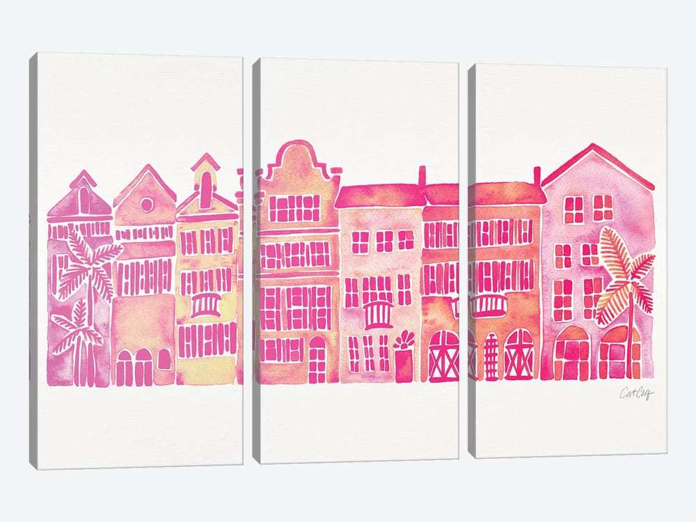 Pink Rainbow Row by Cat Coquillette 3-piece Canvas Art Print