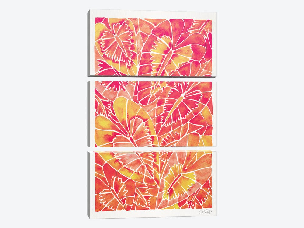 Pink Schismatoglottis Calyptrata 3-piece Canvas Artwork