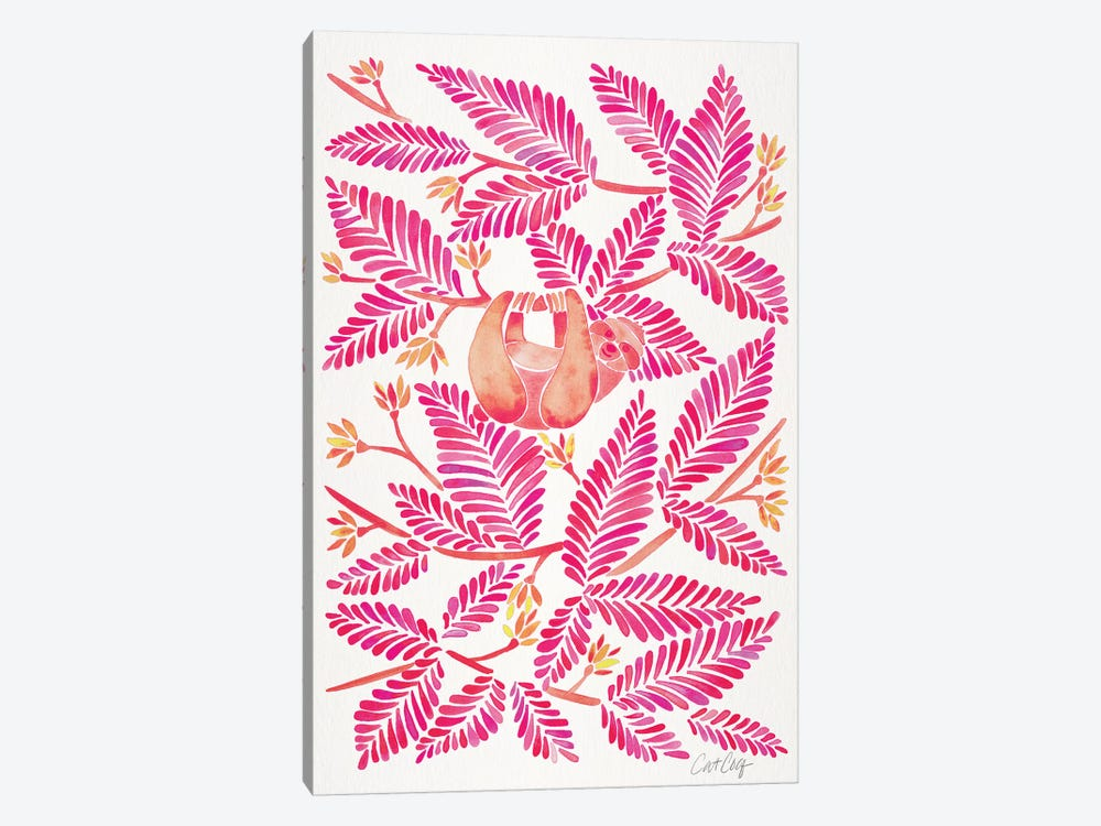 Pink Sloth by Cat Coquillette 1-piece Canvas Print
