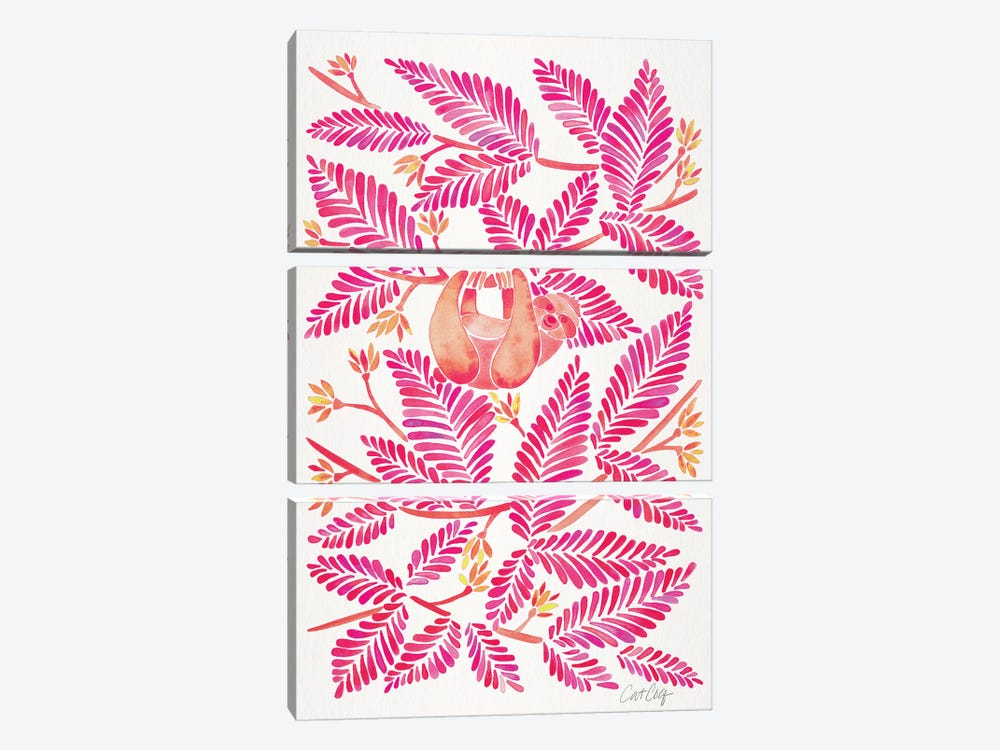 Pink Sloth by Cat Coquillette 3-piece Art Print