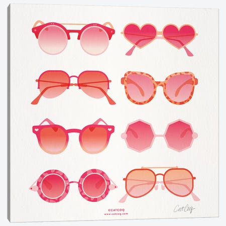 Pink Sunglasses Canvas Print #CCE425} by Cat Coquillette Canvas Artwork