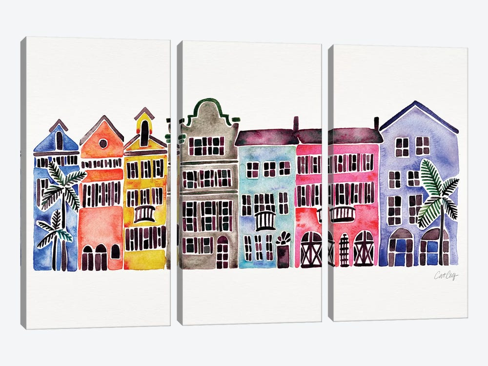 Rainbow Rainbow Row by Cat Coquillette 3-piece Canvas Artwork