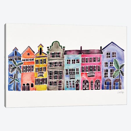 Rainbow Rainbow Row Canvas Print #CCE427} by Cat Coquillette Canvas Artwork