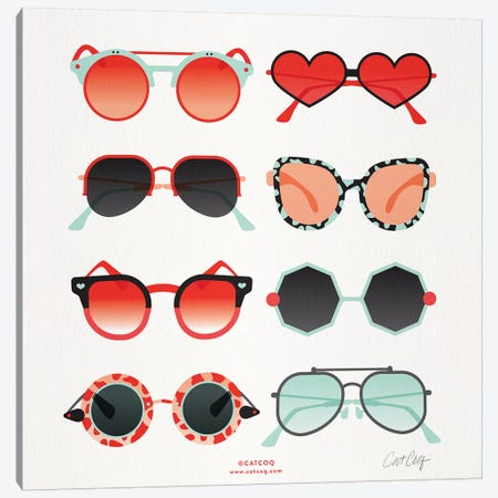 Red & Mint Sunglasses Canvas Print #CCE428} by Cat Coquillette Canvas Print