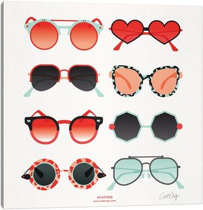 Red & Mint Sunglasses Canvas Art Print