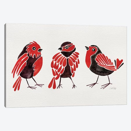 Red Finches 3-Piece Canvas #CCE429} by Cat Coquillette Canvas Art Print