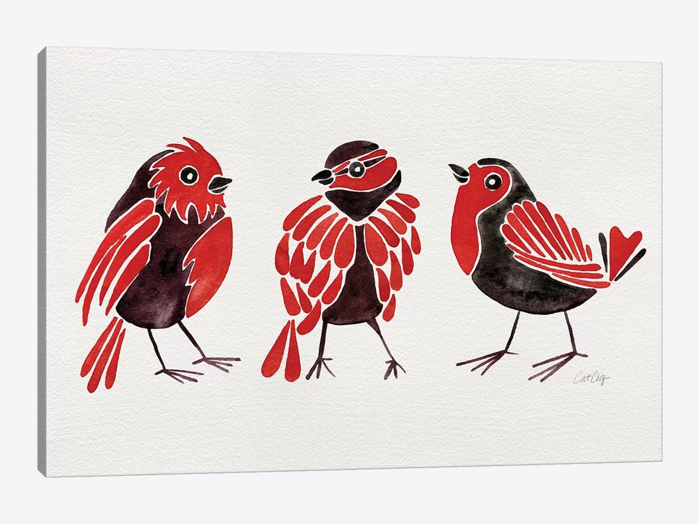 Red Finches by Cat Coquillette 1-piece Canvas Wall Art