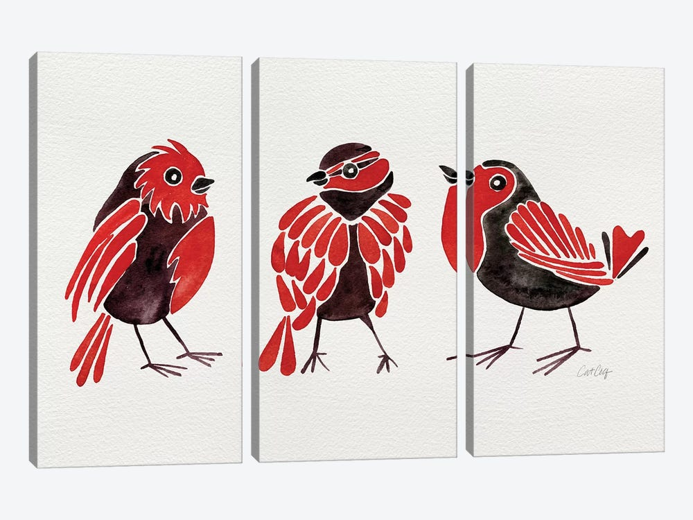 Red Finches by Cat Coquillette 3-piece Canvas Artwork