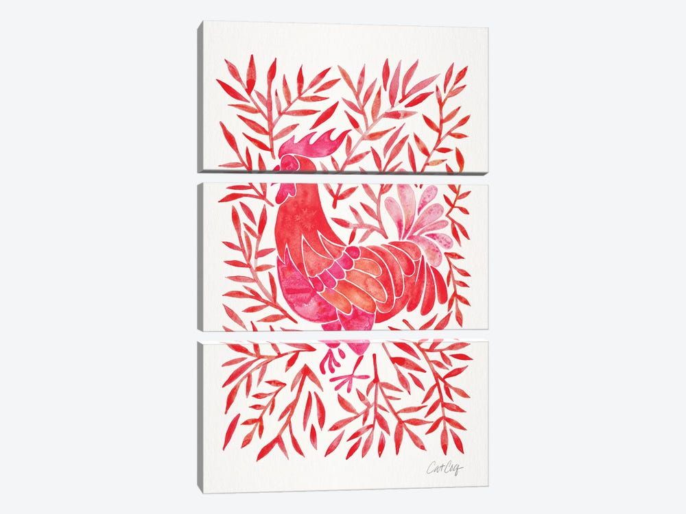 Red Rooster by Cat Coquillette 3-piece Canvas Artwork