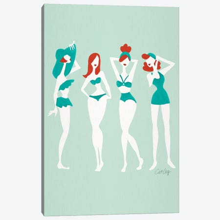 Redheads On Mint Beach Bombshells Canvas Print #CCE433} by Cat Coquillette Canvas Art
