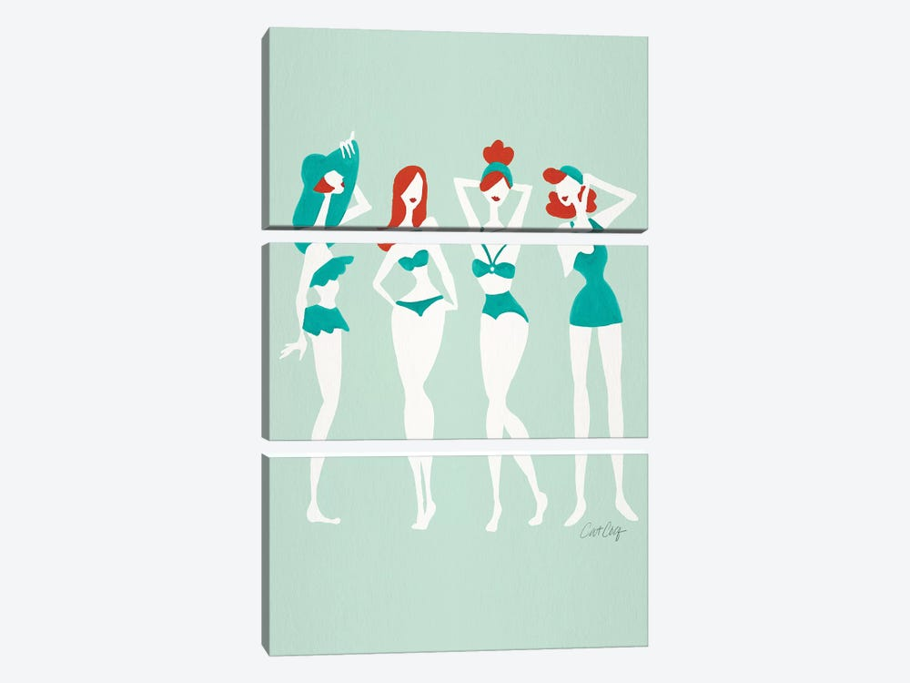 Redheads On Mint Beach Bombshells by Cat Coquillette 3-piece Canvas Print