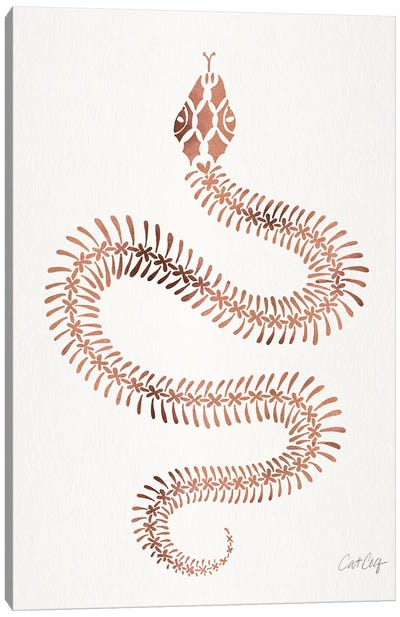Rose & Gold Snake Skeleton Canvas Art Print