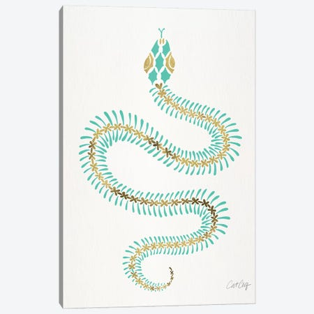 Turquoise & Gold Snake Skeleton Canvas Print #CCE438} by Cat Coquillette Canvas Art