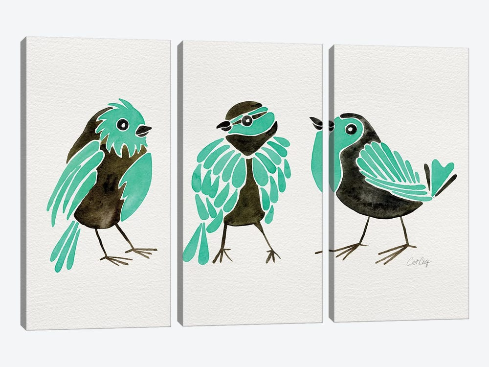 Turquoise Finches by Cat Coquillette 3-piece Canvas Artwork