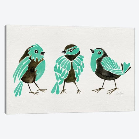 Turquoise Finches 3-Piece Canvas #CCE441} by Cat Coquillette Canvas Art Print